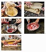 Biskuitroulade mit Himbeersahne zubereiten