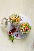 Hirsesalat 'Kisir' mit Gemüse und Minze