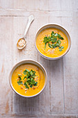 Vegan pumpkin and coconut soup with coriander