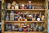 A well-stocked pantry shelf