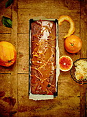 Orange and almond cake with a caramel topping