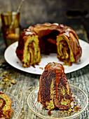 Matcha tea marble cake