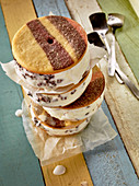 Colourful stracciatella ice cream sandwiches