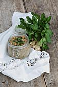 Dinkelbrei mit Karotten und Bertrampulver (Fünf-Elemente-Küche)