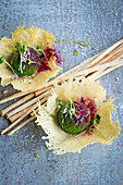 Wild garlic sorbet in Parmesan dishes