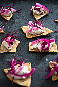 Tortilla chips with mackerel cream, red wine onions and red amaranth shoots