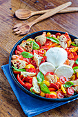 Tomato salad with buffalo mozzarella, basil and grilled bread
