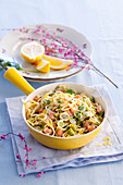 Linguine with broad beans and salmon
