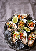 Oysters with nectarine salsa