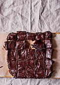 Black bean brownies with peanut butter and cocoa icing