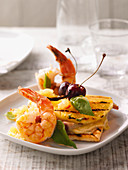 Hawaiian toast with prawns