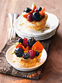 Fruit basket pastries with fresh berries