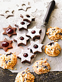 Coconut biscuits with plums and raspberry jam shortbread biscuits