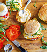 Egg sandwiches with tomato and rocket