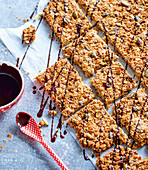 Tray bake muesli bars with dried fruit
