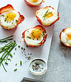 Quick ham and egg cakes