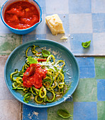 Courgette noodles with an anchovy and tomato sauce
