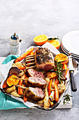 Orange Roasted Winter Veg with Lamb and Rosemary