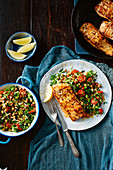 Gluten-free pepper fish fillets with broccoli tabbouleh