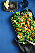 Crispy potatoes with broccolini and lemon