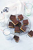 Chocolate and caramel slices