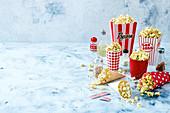 Salted caramel popcorn, easy popcorn, chessy popcorn, salt and vinegar popcorn, cinnamon sugar popcorn, pizza popcorn and funfetti popcorn