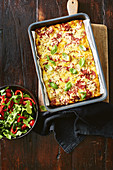 Pepperoni and potato frittata with chargrilled capsicum salad