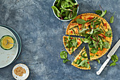 Hot smoked salmon tart with green onion and sesame pastry