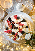 Mulled winter Berry pavlova