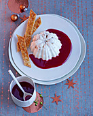 Almond mousse with berry jelly for Christmas