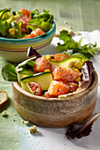Salmon and vegetable poke bowls