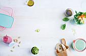 Salat, Gemüseaufstrich und Smoothie