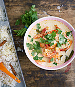 Coconut curry with prawns and basmati rice