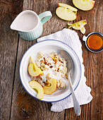 Porridge with wheat germ, almond milk and apple