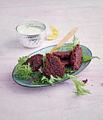 Beetroot fritters with a horseradish tip