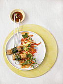 Spring Asian salad with nori tofu sticks