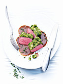 Lamb with a mustard and herb crust