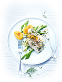 Cod with dill, lemon, spring onions, and peeled potatoes