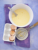 Pancake mixture being made