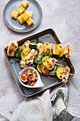 Corn-fed chicken skewers with vegetables