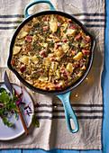 Potato frittata with ham and herbs