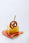 A Bavarian party skewer with ham, cheese and a pretzel