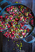 Homemade chocolate bark with goji berries and pistachios