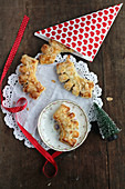 Puff pastry 'bear claws' filled with marzipan for Christmas