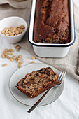 Banana bread with chocolate, peanut butter and peanuts