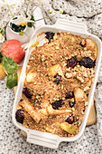 Apple crumble with blackberries