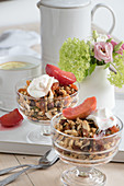 Muesli with poached fruit and yoghurt
