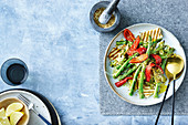 Chargrilled asparagus and haloumi salad with hazelnut dukkah