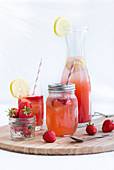 Summer strawberry and melon lemonade