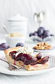 Autumnal damson yeast tray bake cake